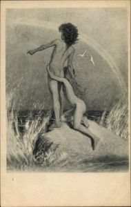 Jugendstil Ak Fidus, Auf der Klippe, Kohlefotogram