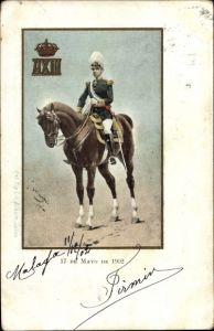 Ak König Alfons XIII. von Spanien, Portrait, Pferd