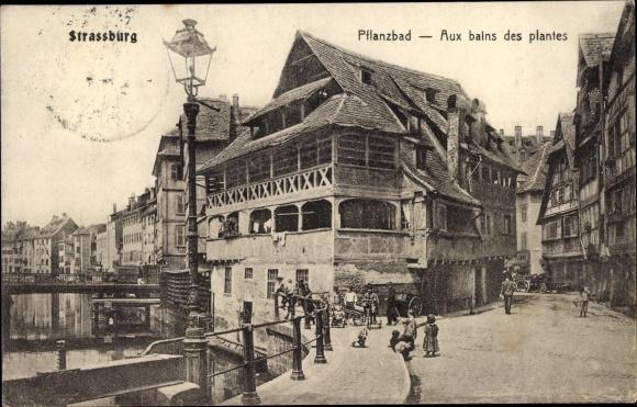 Ak Strasbourg Straßburg Elsass Bas Rhin, Pflanzbad, Aux bains des plantes