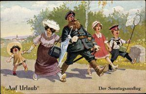 Künstler Ak Thiele, Arthur, Auf Urlaub, Der Sonntagsausflug, Soldat mit Familie