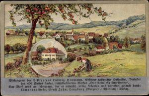 Litho Elbersroth Herrieden in Mittelfranken, Blick zum Ort, Mädchen pflückt Blumen