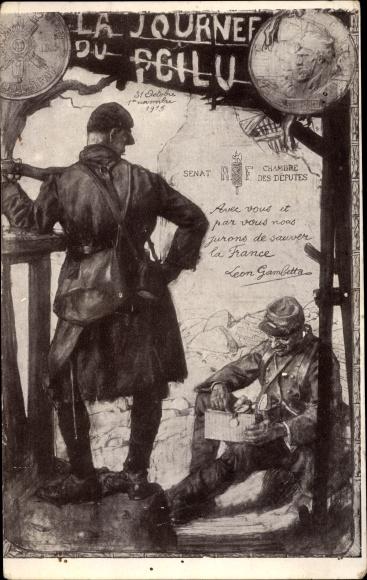 Künstler Ak La Journée du Poilu, Soldaten im Unterstand