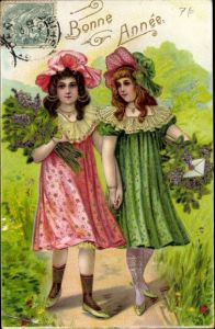 Präge Ak Glückwunsch Neujahr, Zwei Mädchen mit Blumen