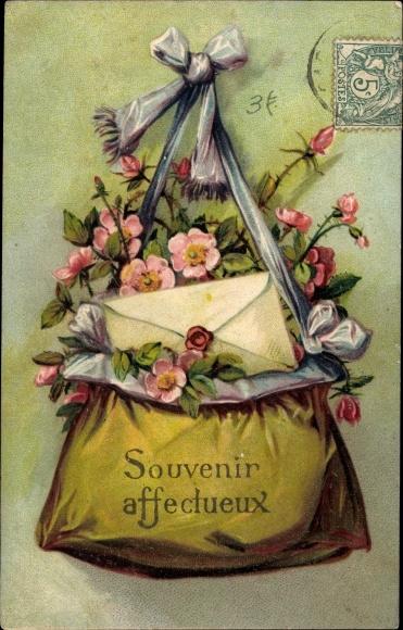 Präge Ak Souvenir affectueux, Tasche voller Blumen