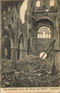 Ak Servon Marne, Das verwüstete Innere der Kirche