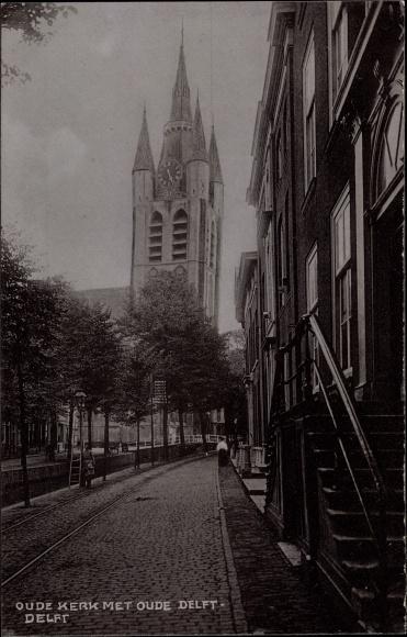 Ak Delft Südholland Niederlande, Oude Kerk met Oude Delft