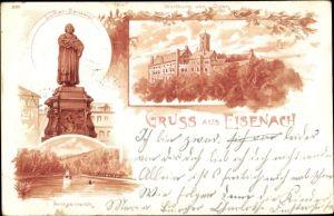 Litho Lutherstadt Eisenach in Thüringen, Luther Denkmal, Wartburg, Ostansicht, Prinzenteich
