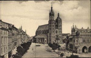 Ak Kraków Krakau Polen, Glowny rynek z kosciolem N. Panny Maryi