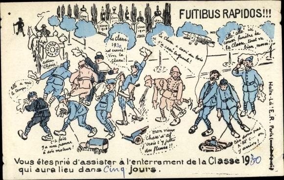 Künstler Ak Futibus Rapidos, Vous etes prie d'assister à l'enterrement de la Classe