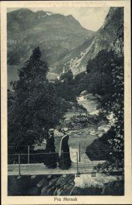 Ak Meraak Norwegen, Damen auf einer Brücke, Landschaft