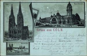 Mondschein Litho Köln am Rhein, Dom, Neuer Bahnhof, Rheinbrücke