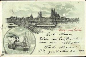 Mondschein Litho Köln am Rhein, Panorama, Dampfer