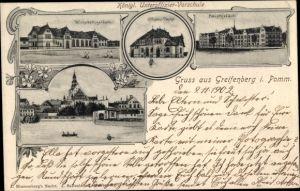 Ak Gryfice Greifenberg Pommern, Wirtschaftsgebäude, Kgl. Unteroffizier Vorschule