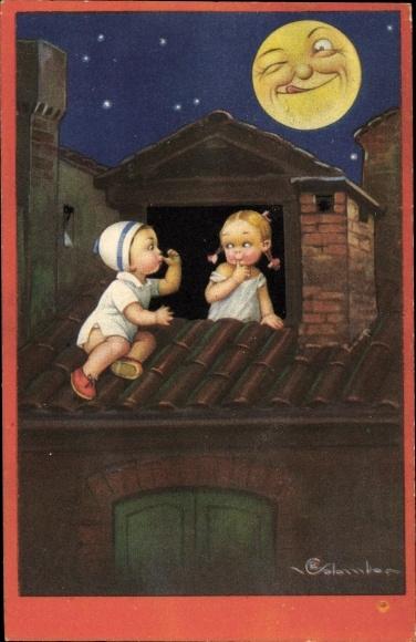 Künstler Ak Colombo, E., Liebespaar, Kinder, Mondgesicht