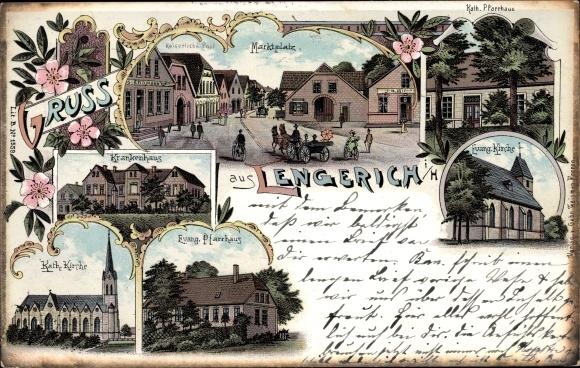 Litho Lengerich in Westfalen, Marktplatz, Krankenhaus, Ev. Pfarrhaus, Ev. Kirche, Kath. Pfarrhaus