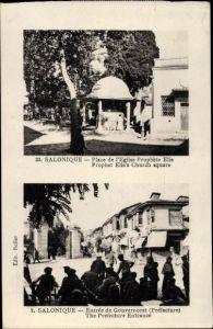 Ak Thessaloniki Saloniki Griechenland, Place de l'Église Prophète Elie, Gouvernorat