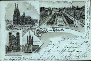 Mondschein Litho Köln am Rhein, Dom, Kaiser Wilhelm Ring, St. Martin, St. Gereon