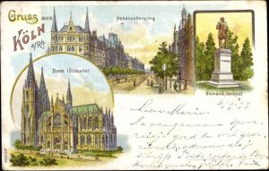 Litho Köln am Rhein, Hohenzollernring, Bismarckdenkmal, Dom