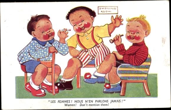 Künstler Ak Les Femmes, Nous n'en parlons jamais, Kinder rauchen