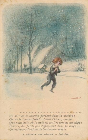 Künstler Ak Poulbot, Francisque, Kind im Winter, La Légende des Siècles, Petit Paul