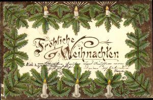 Passepartout Ak Frohe Weihnachten, Tannenzweige, Kerzen