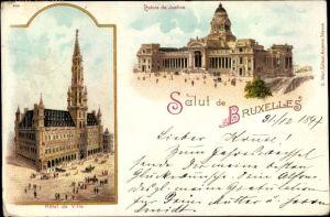Litho Bruxelles Brüssel, Palais de Justice, Hotel de Ville