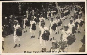 Foto Ak Sankt Gallen Stadt Schweiz, 57. Eidg. Turnfest 1922, Turner, Festumzug