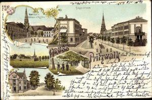 Litho Pritzwalk in der Prignitz, Hagenstraße, Marktplatz, Rathaus, Kirche, Stadtmauer