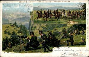 Künstler Litho Schweizer Armee, Kavallerie, Soldaten, Geschütze