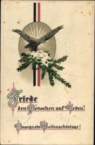 Präge Ak Frohe Weihnachten, Friede den Menschen auf Erden, Adler