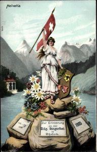 Ak Zürich Stadt Schweiz, Helvetia, Zur Erinnerung an das Eidg. Sängerfest 1905