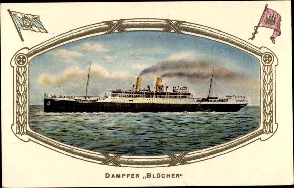 Präge Passepartout Ak Hamburg, Dampfschiff Blücher, HAPAG