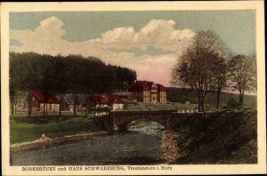 Ak Trautenstein Oberharz am Brocken, Bodebrücke, Haus Schwarzburg