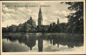 Ak Kiel in Schleswig Holstein, Am Kleinen Kiel, Rathaus u. Stadttheater