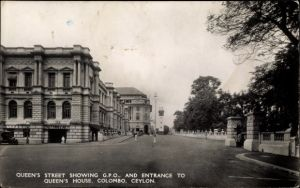 Ak Colombo Ceylon Sri Lanka, Queen's Street showing GPO and Entrance to Queen's House