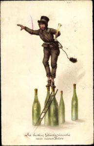 Ak Glückwunsch Neujahr, Schornsteinfeger, Sektflaschen, Leiter