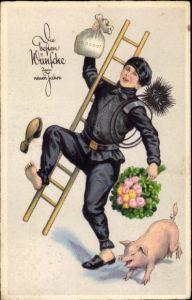 Ak Glückwunsch Neujahr, Schornsteinfeger, Schwein, Kleeblätter, Geldsack