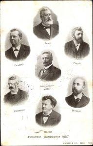 Ak Schweizer Bunderat 1907, Zemp, Müller, Forrer, Deucher, Comtesse, Ruchet, Brenner
