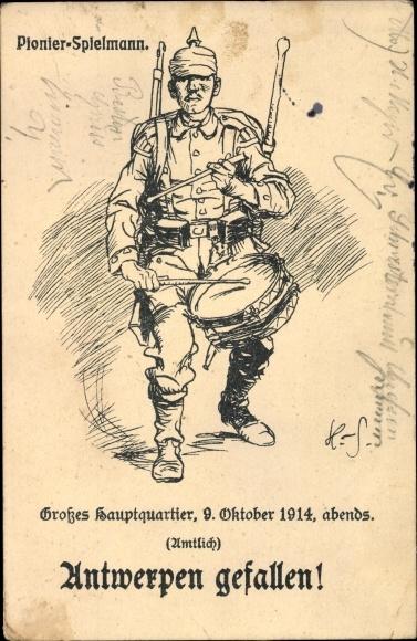 Künstler Ak Antwerpen gefallen, Pionier Spielmann, Großes Hauptquartier, 9.10.1914