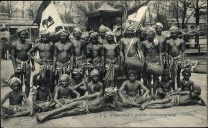 Ak Hamburg Eimsbüttel Stellingen, Hagenbecks Große Schaustellung Indien, Inder mit Trommeln