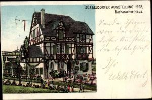 Litho Düsseldorf am Rhein, Bacharacher Haus, Düsseldorfer Ausstellung 1902