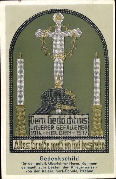 Ak Itzehoe in Schleswig Holstein, Gedenkschild für den gefallenen Oberlehrer Kummer