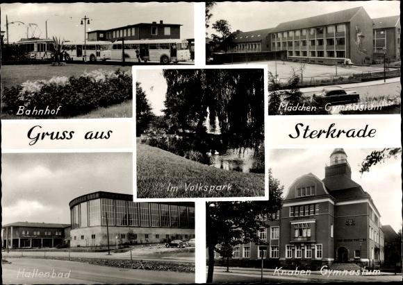 Ak Sterkrade Oberhausen Nordrhein Westfalen, Bahnhof, Mädchen- u. Knabengymnasium, Hallenbad