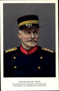Ak Oberstdivisionär Schieß, Kommandant der Hauenstein Befestigungen, Schweizer Armee