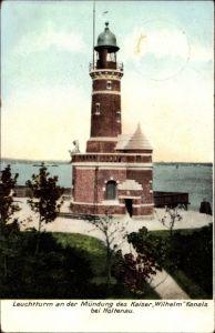 Ak Holtenau Kiel in Schleswig Holstein, Leuchtturm an der Mündung des Kaiser Wilhelm Kanals