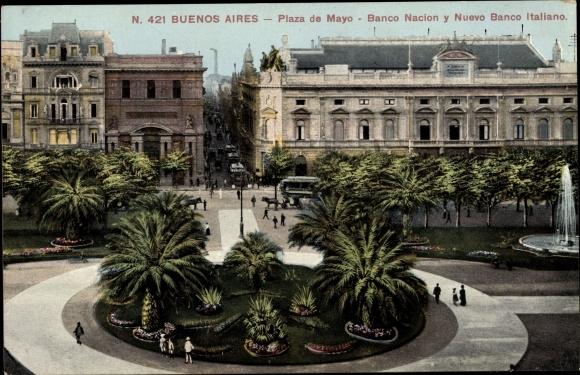 Ak Buenos Aires Argentinien, Plaza de Mayo, Banco Nacion y Nuevo Banco Italiano