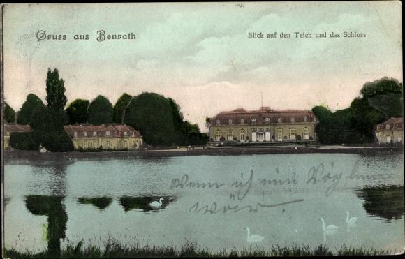 Ak Benrath Düsseldorf am Rhein, Teich und Schloss