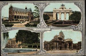 Ak Bruxelles Brüssel, Palais de Justice, Arcade Monument., Parc et Palais de la Nation, Petit Sablon