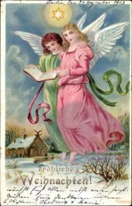 Litho Glückwunsch Weihnachten, Zwei Engel, Haus, Stern