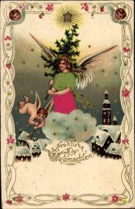 Präge Material Litho Glückwunsch Weihnachten, Engel mit Tannenbaum, Ortschaft